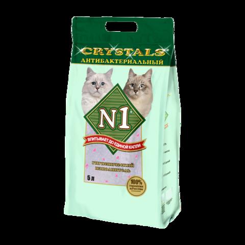 №1 Crystals Наполнитель для туалета кошек антибактериальный силикагелевый