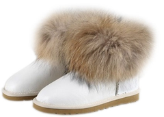 UGG Mini Fox Fur Metallic White