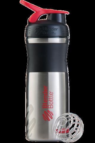 BlenderBottle SportMixer Stainless Steel, 828мл Шейкер из Нержавеющей Пищевой Стали черный-красный 828 мл