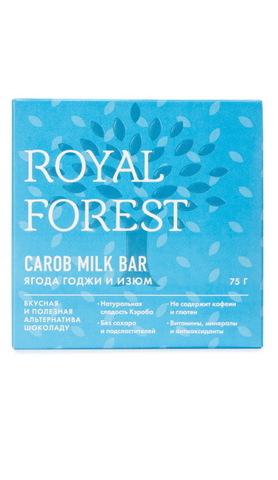 Шоколад из кэроба с ягодой годжи и изюмом 75 г, Royal-forest