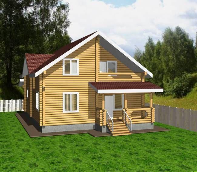 """Строительство домов из бруса и бревна Дом из бревна """"МД-Ц-172"""" 172 кв.м. 3d.jpg"""