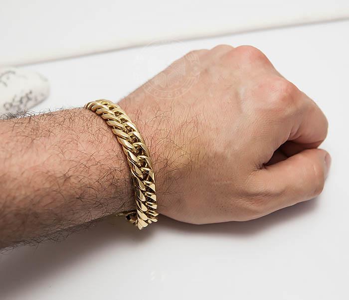 BM499-2 Золотистый мужской браслет из ювелирной стали (21 см) фото 07