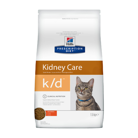 Hill's Prescription Diet k/d Kidney Care Сухой диетический корм для кошек при лечении заболеваний почек с курицей