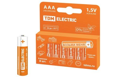 Элемент питания LR03 AAA Alkaline 1,5V PAK-8 TDM