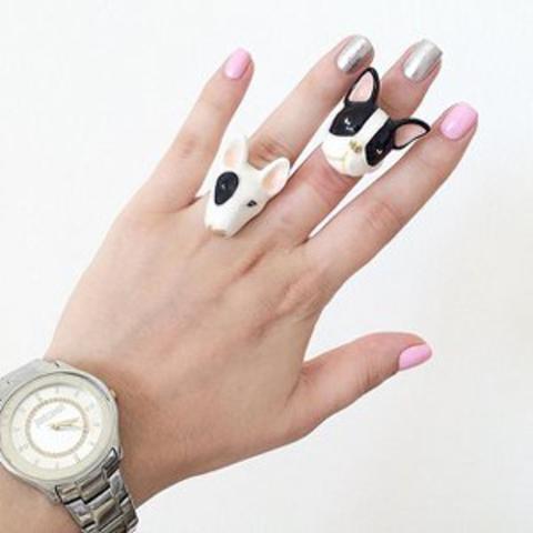 Кольцо Французский Бульдог (черно-белый)