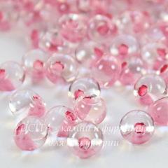 38694 Бисер Preciosa Дропс (Drops) 5/0 Кристал блестящий с розовым центром