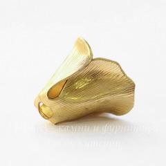 Винтажный декоративный элемент - шапочка в виде цветка 13х12 мм (цвет - латунь)