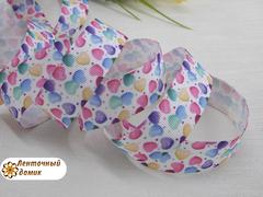 Лента репсовая разноцветные сердечки ширина 22 мм