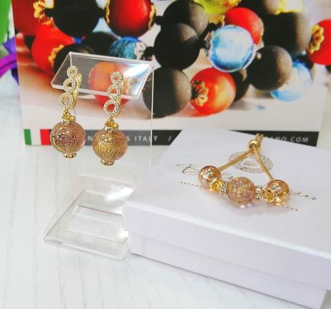 Комплект из браслета и серег со стразами Franchesca Ca'D'oro Medio Amethyst Gold 040O