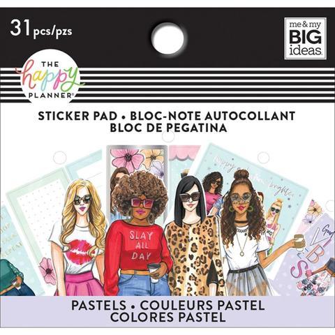 Блокнот со стикерами (8.5х9 см) для ежедневника Happy Planner X Rongrong Tiny Sticker Pad- Pastel- 31 шт