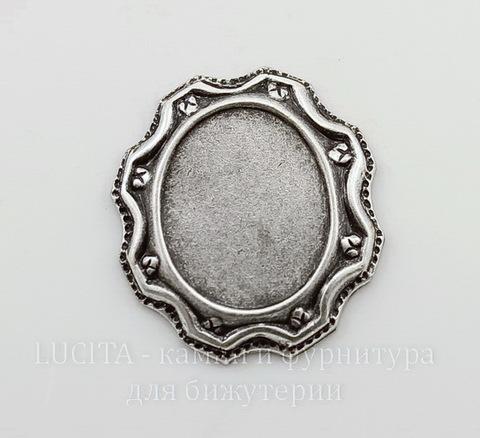 """Сеттинг - основа """"Этник"""" для камеи или кабошона 13х10 мм (оксид серебра)"""