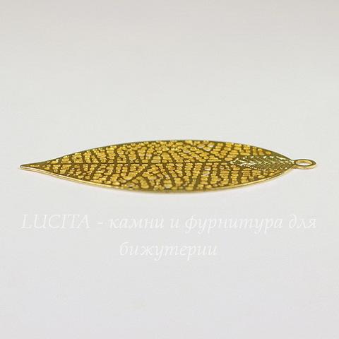 """Подвеска """"Лист"""" филигрань 50х26 мм (цвет - золото)"""