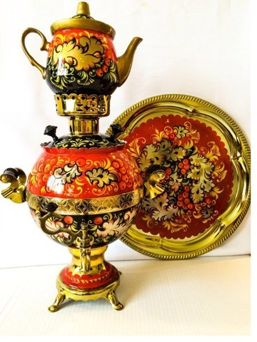 Самовар электрический трехлитровый в наборе с подносом и чайником с художественной росписью «Кудрина»