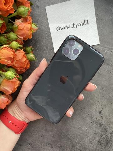 Чехол Iphone 11 Pro Glass Silicone Case Logo /black/