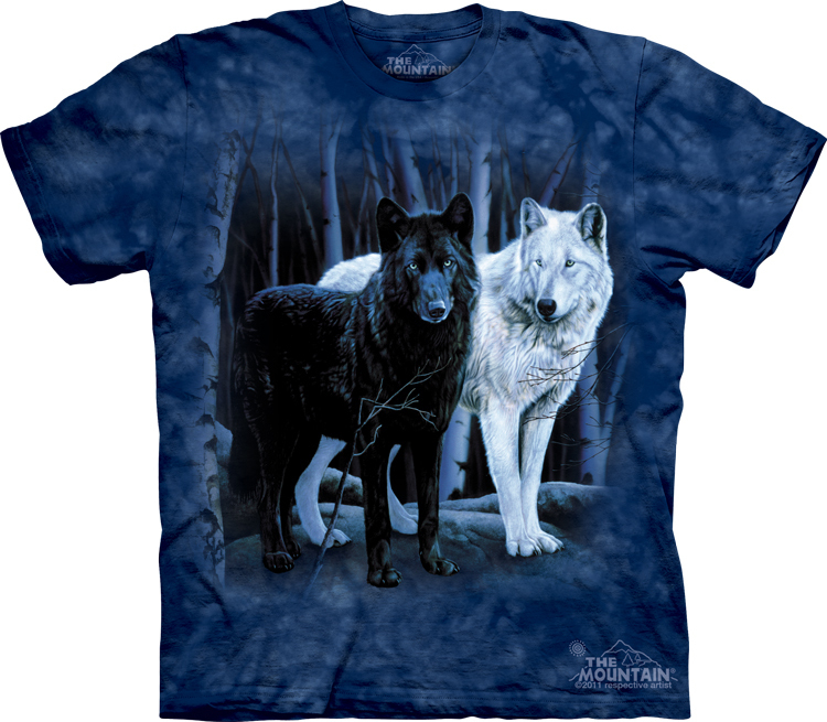 Футболка Mountain с изображением черного и белого волка - Black & White Wolves