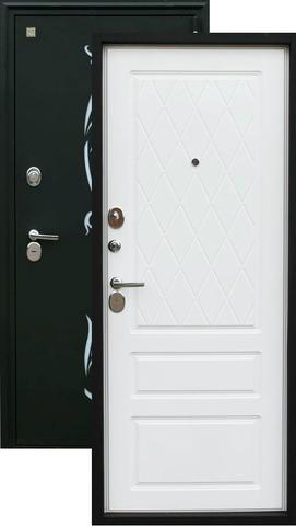 Дверь входная Зевс Z-7, 2 замка, 2 мм  металл, (чёрный шёлк+белый софт)