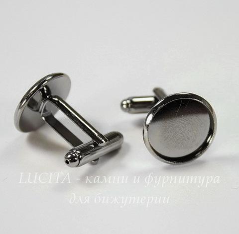 Основа для запонок с сеттингом для кабошона 14 мм (цвет - черный никель), 19х18 мм, ПАРА