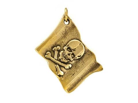 Кулон пиратский Флаг Роджер отечественного производства из бронзы RH01780