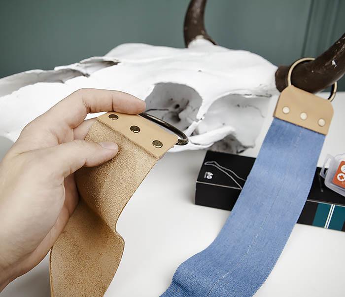 RAZ444 Двухсторонний ремень для правки опасной бритвы (кожа и ткань) фото 05