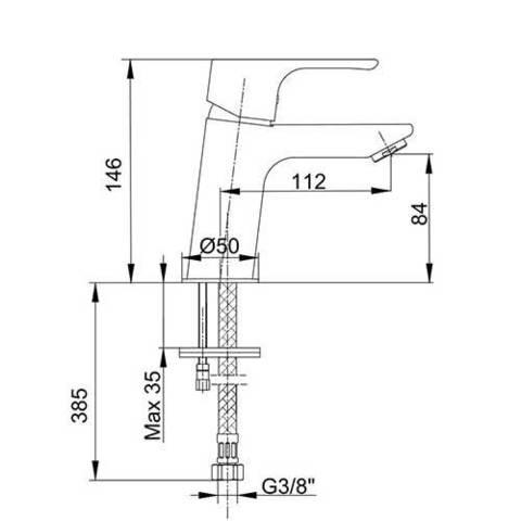 Смеситель E.С.А. Niobe 102188053EX для раковины схема