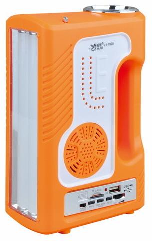 Ф.аккумуляторный ручной YJ-1905T, 1W+30SMD, power bank, радио, mp3 плеер, солнечная система