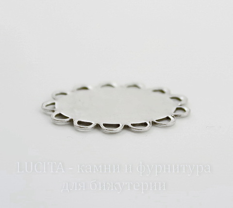 """Сеттинг - основа """"Ажурный"""" для камеи или кабошона 18х13 мм (оксид серебра)"""