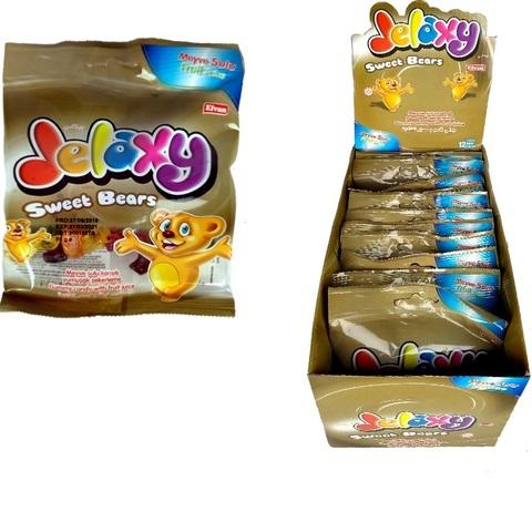 'Jelaxy Sweet Bears  (12х6)  Жевательный мармелад с фруктовым соком Сладкие медведи 1кор*6бл*12шт,80гр