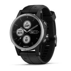 Компактные мультиспортивные часы Garmin Fenix 5S Plus - серебристые с черным ремешком 010-01987-21