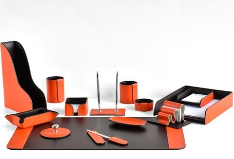 Настольный канцелярский набор 14 предметов из кожи цвет оранж/шоколад