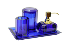 Набор аксессуаров для ванной 4шт Walther Decor Kristall сапфир