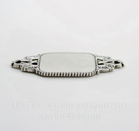 """Сеттинг - основа - коннектор """"Квадрат"""" (1-1) для камеи или кабошона 20х20 мм (оксид серебра)"""