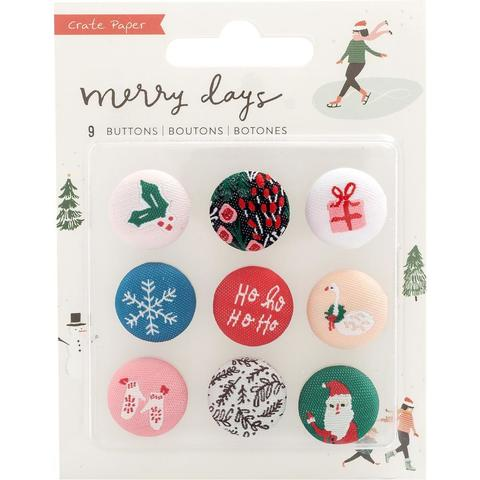 Набор объемных пуговиц - Merry Days Adhesive Fabric Buttons - 9 шт