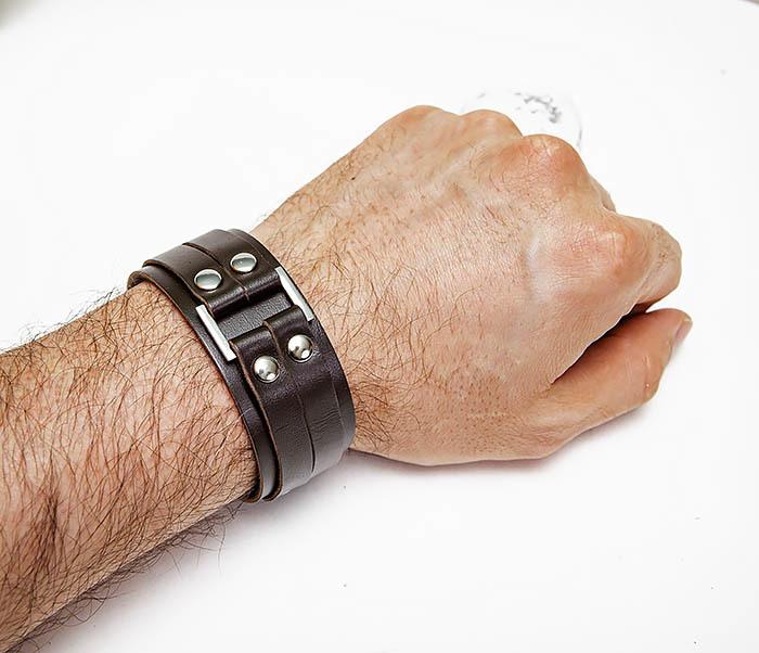 BL798-2 Кожаный браслет напульсник коричневого цвета фото 02