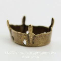 Сеттинг - основа Капля для страза 18х13 мм (оксид латуни)