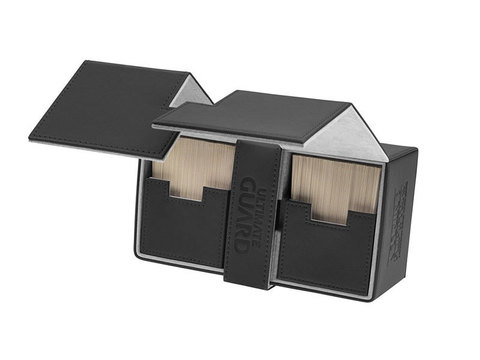 Ultimate Guard - Двойная кожаная черная коробочка с отделением для кубиков на 200 карт