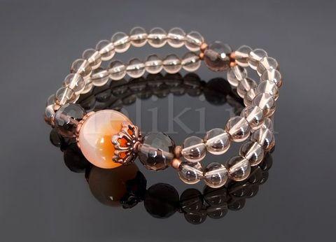 браслет оранжевый с коричневым_дымчатый кварц и сердолик браслет