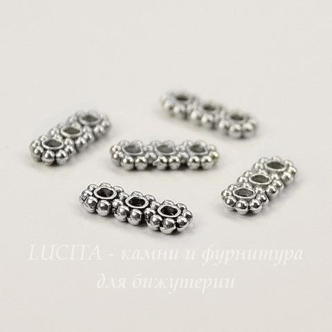 Разделитель на 3 нити 10х4 мм (цвет - античное серебро), 5 штук