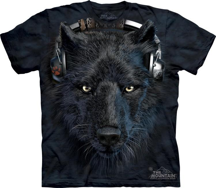 Футболка Mountain с изображением черного волка диджея - DJ Night