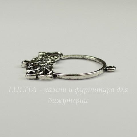 """Коннектор """"Цветочек"""" 34х27 мм (цвет - античное серебро)"""