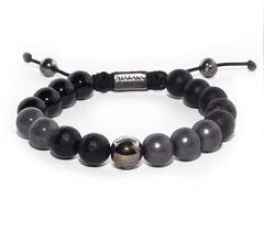 Браслет Nialaya Men's Beaded Bracelet with Matte Onyx, Lava Stone and Black Agate