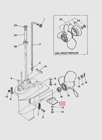 Анод  для лодочного мотора T15, OTH 9,9 SEA-PRO (17-11)