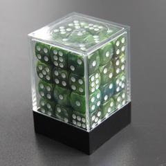Набор шестигранных кубиков мраморный тёмно-зелёный (36 штук)