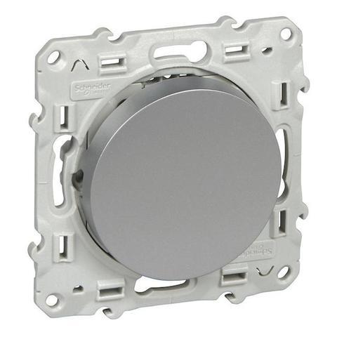 Выключатель одноклавишный (схема 1) 10 АХ, 250 В. Цвет Алюминий. Schneider Electric(Шнайдер электрик). Odace(Одес). S53R201