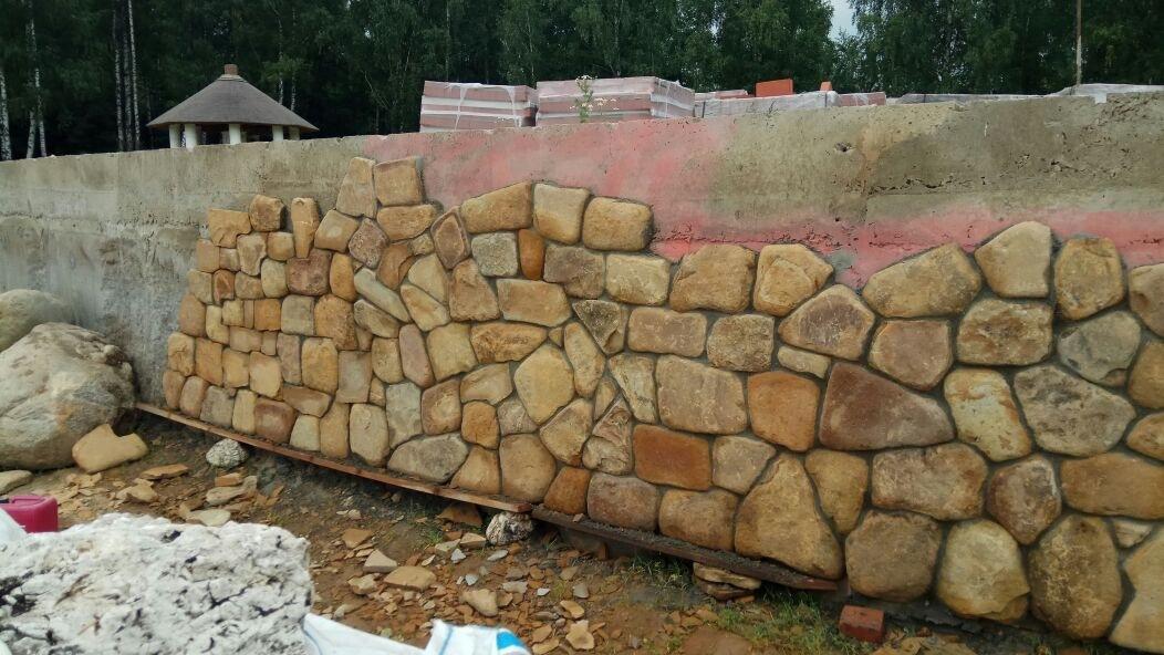 Облицовочный камень для стен Булыжник плоский Жёлтый