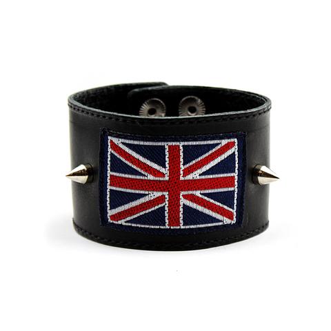 Стильный широкий кожаный чёрный отечественный браслет напульсник из натуральной кожи с британским флагом и двумя шипами TRONIN N-11