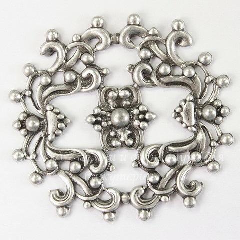 Винтажный декоративный элемент - филигрань 44х41 (оксид серебра)