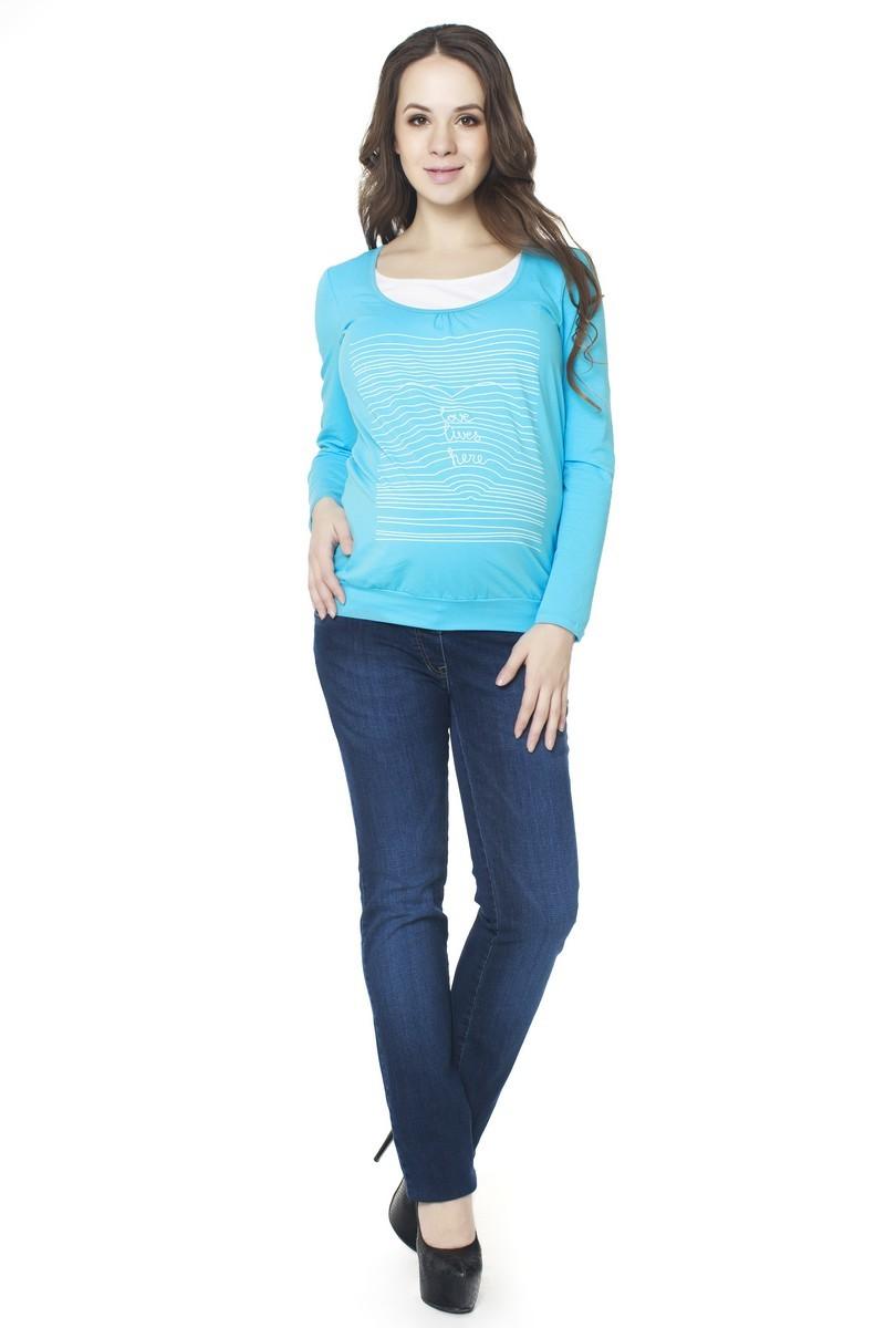Блузка для беременных и кормящих 07374 голубой