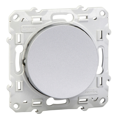 Выключатель одноклавишный (схема 1а) 10 АХ, 250 В. Цвет Алюминий. Schneider Electric(Шнайдер электрик). Odace(Одес). S53R206
