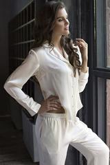 Нежная пижама женская шелковая кремовая