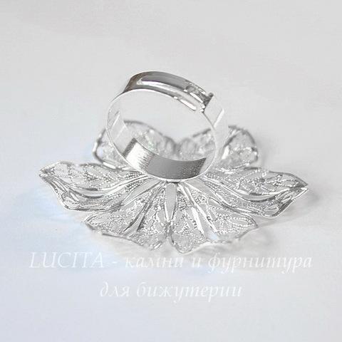 Основа для кольца с филигранным цветком 42 мм (цвет - серебро)